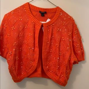 Lafayette 148 orange cropped cardigan